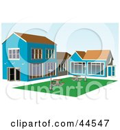 Clipart Illustration Of A Blue Building With Picnic Tables In The Courtyard by toonster