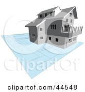 Clipart Illustration Of A Multi Story Home With Its Blue Prints by toonster