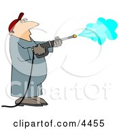 Pressure Washer Man Spraying Down A Wall Clipart