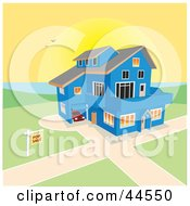 Clipart Illustration Of A Custom Blue Home For Sale On A Lake At Sunset by toonster