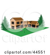Clipart Illustration Of A Commercial Building With Picnic Tables On The Lawn In The Courtyard by toonster