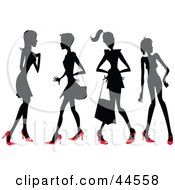Clipart Illustration Of Four Silhouetted Women In Red Heels