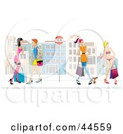 Clipart Illustration Of Ladies Chatting At A Bus Stop In Venice by toonster