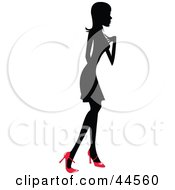 Clipart Illustration Of A Silhouetted Woman In A Dress And Red Heels Facing Right