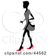 Clipart Illustration Of A Silhouetted Woman In Red Heels Carrying A Purse by toonster