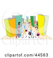 Clipart Illustration Of A Group Of Female Friends Shopping In A Mall by toonster