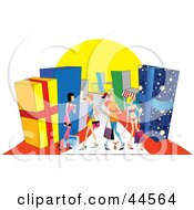 Clipart Illustration Of A Women Shopping In A Mall With Giant Presents by toonster