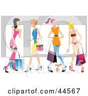 Clipart Illustration Of Four Caucasian Women Shopping With Bags And A Dog
