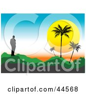 Clipart Illustration Of A Lone Silhouetted Man On A Hill Watching The Sunset Behind Palm Trees by toonster