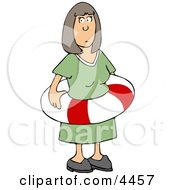 Woman Wearing An Emergency Life Preserver Around Her Waist Clipart by djart