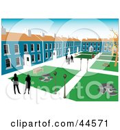 Clipart Illustration Of Silhouetted Business People In A Commercial Building Complex Courtyard
