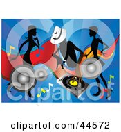 Clipart Illustration Of Silhouetted Women Dancing Around A DJ On A Blue Background