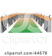 Clipart Illustration Of A Large Building Complex Facing A Courtyard by toonster