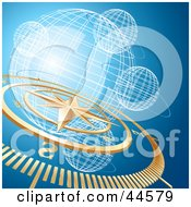 Golden Compass And Wire Globe Blue Background