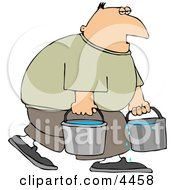 Tired Man Carrying Buckets Of Water Clipart