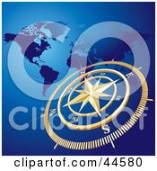 Clipart Illustration Of A Golden Compass And Atlas Blue Background