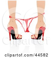 Red Heels Her Red Thong Panties Hanging On Her Ankles