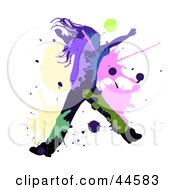 Clipart Illustration Of A Black Silhouetted Girl Dancing Or Leaping With Colorful Splatters