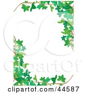 Clipart Illustration Of A White Vertical Background Bordered In Green Ivy Corners