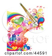 Clipart Illustration Of A Pencil Drawing A Background Of Colorful Hearts And Waves