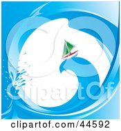 Clipart Illustration Of A Scene Through A Wave On A Green Sailboat Riding On Top Of A Wave