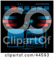 Clipart Illustration Of A Red Blue And Black Technology Website Template