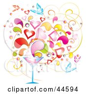 Clipart Illustration Of A Background Of Colorful Splashes Hearts And Butterflies Emerging From A Martini Glass by MilsiArt
