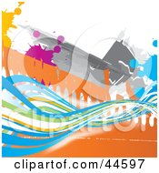Clipart Illustration Of An Abstract Colorful Wave And Splatter Background by MilsiArt
