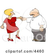Wife Trying To Get Her Husband To Dance Clipart
