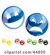 Clipart Illustration Of A Digital Collage Of Blue Yellow Red Green And Black Theater Mask Emoticons