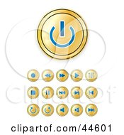 Clipart Illustration Of A Digital Collage Of Gold And Blue Media Buttons