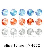 Clipart Illustration Of A Digital Collage Of Blue Red And Silver Globes by MilsiArt