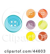 Clipart Illustration Of A Digital Collage Of Colorful Sewing Buttons by MilsiArt