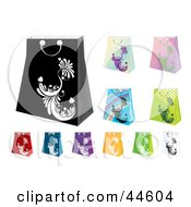 Clipart Illustration Of A Digital Collage Of Colorful Shopping Bags by MilsiArt