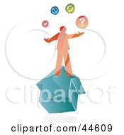 Clipart Illustration Of An Orange Businessman On A House Juggling His Options