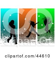 Silhouetted Girl Running And Jumping Over Green Orange And Blue Panels