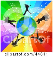 Clipart Illustration Of Girls Jumping Around Earth On A Rainbow Background by MilsiArt #COLLC44611-0110
