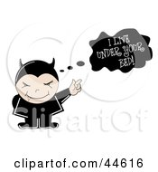 Clipart Illustration Of A Little Vampire In Black Pointing To A Text Cloud by MilsiArt