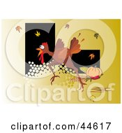 Clipart Illustration Of A Frightened Turkey Running On An Orange Background With Leaves by MilsiArt