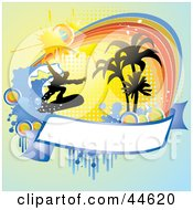 Clipart Illustration Of A Grungy Silhouetted Surfer And Blank Banner Background by MilsiArt