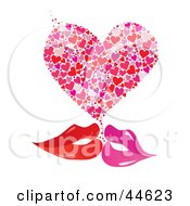 Clipart Illustration Of A Pair Of Red And Pink Female Lips Kissing With A Heart