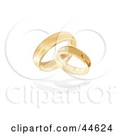 Pair Of Entwined 3d Gold Wedding Band Rings