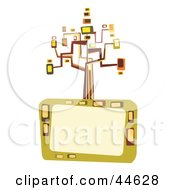Clipart Illustration Of A Colorful Retro Tree Of Abstract Shapes Atop A Text Box
