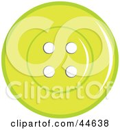 Clipart Illustration Of A Green Sewing Button With Holes by MilsiArt