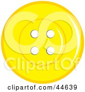 Clipart Illustration Of A Yellow Sewing Button With Holes by MilsiArt