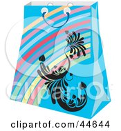 Clipart Illustration Of A Blue Rainbow Shopping Bag With A Black Scroll Design