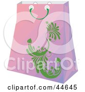Clipart Illustration Of A Gradient Purple Shopping Bag With A Green Scroll Design by MilsiArt