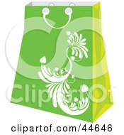 Clipart Illustration Of A Green Shopping Bag With A White Scroll Design