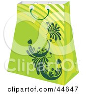 Clipart Illustration Of A Green Shopping Bag With A Scroll Design by MilsiArt