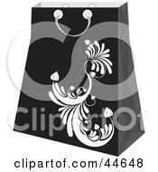 Clipart Illustration Of A Black Shopping Bag With A White Scroll Design by MilsiArt